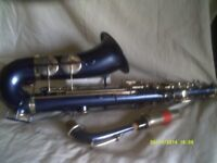 AN EXOTIC DEEP METALLIC BLUE ALTO SAXOPHONE with SILVER KEYS , In V.G.C, ++++++