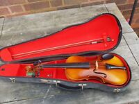 VINTAGE BOOSEY AND HAWKES ARTIA EXCELSIOR VIOLIN + CASE + BOW + MORE PLAYS NEEDS TLC