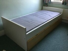 IKEA Single Bed + mattress has storage draws