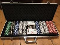 Poker chips and carry box