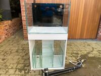 Clear Seal Reefspace 600 fish tank: open-top, low iron extra clear glass, sump, all pipework