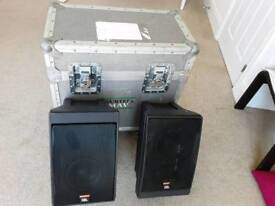 Pair Of JBL Control 5 Speakers And Flight Trunk