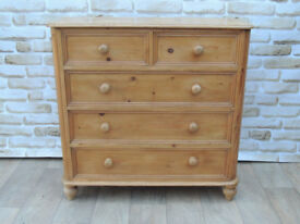 Welsh Pine Strong wooden chest on bun feet Waxed (Delivery)