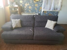 3 Seater Standard Sofa Fabric - Charcoal Chrome