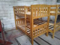 Solid Pine, antique pine finish, SHORT, America style bunk bed frame, HUGE DISCOUNT just £100!