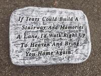Stonework memorial plaque