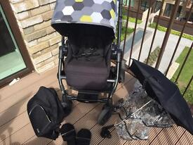 Mamas and papas black pixo travel system pushchair and accessories