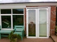 french doors, patio doors, with frame. height 2m 6cm x 1m 47cm. white pvc. double glazed.