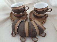 8 -----DENBY COTSWOLD BROWN TEA /COFFEE CUPS & SAUCERS