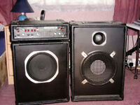 100 watt amplifier (requires attention) plus two speaker cabs.