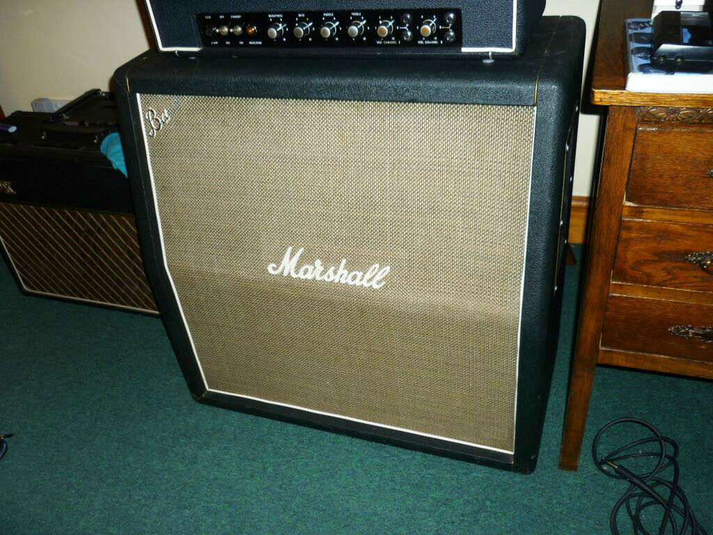 1969 marshall basketweave 4 x 12 cabinet celestion g12 h speakers gold bass logo in chelmsford. Black Bedroom Furniture Sets. Home Design Ideas