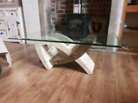 Glass marble coffee table