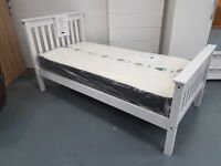 Brand New White High Head And Foot Single Bed With Or Without Mattress. Can Deliver