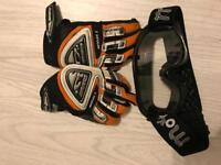 Kids motor cross gloves and goggles