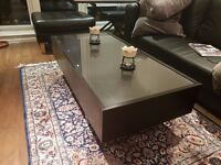 Coffee table - dark solid wood with 2 x drawers and shelf