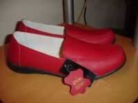 Ladies Red Leather Shoes size 7 Brand New with Tags