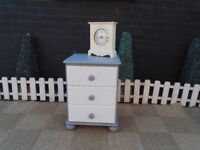 SOLID PINE BEDSIDE CABINET PAINTED WITH LAURA ASHLEY PALE DOVE AND PARIS GREY