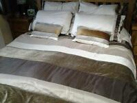 matching brown and gold Next king size bed linen, curtains and lampshade