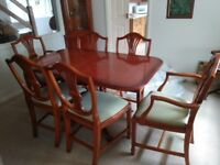 Dining Table and Chairs with matching display cabinets