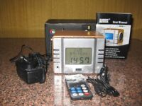 Mp3 Clock/Radio rechargeable with remote control and box.