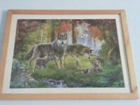 4 x Wolf Puzzles / 3 Pictures, mounted and framed, chatham