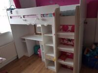 Mid sleeper bed. High shine single white bed