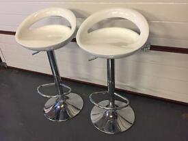3 x white swivel bar stools