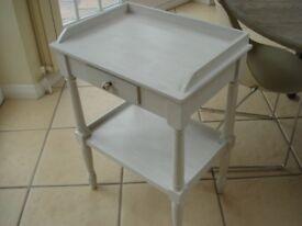 white wooden washstand