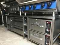 Commercial kitchen, Blue seal hobb, falcon grill, Williams fridge, hatco warmer