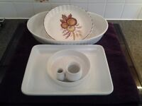 4 Items Table/Kitchen Ware Two Serving Dishes-1 Olive Dish- 1 Flan Dish-Earthenware-Ex.Cond.