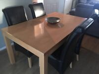 Dining table & 4 brown leather chairs