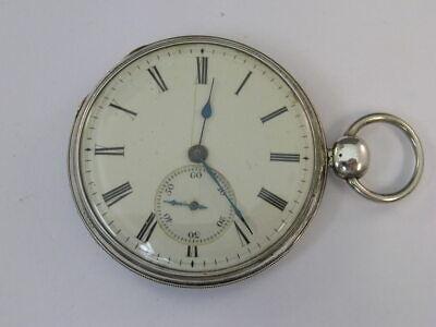 Vintage Pocket Watch Silver Case E.M. Co. Key Wind & Set 51mm
