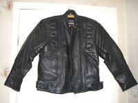Rhino Motorcycle Motorbike Bike Black Leather Jacket Size 12 EU 42
