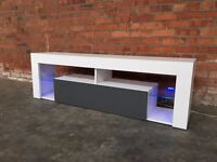 White & High Gloss Grey 160cm TV Cabinet Unit Stand