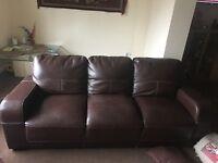 Borwn colour 3 seater sofa in good condition