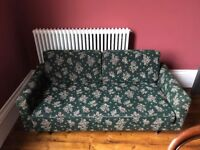 Vintage Green Floral Print Sofa / Day Bed / Sofa Bed