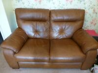 Settee 2 seater. Tan leather in very good condition