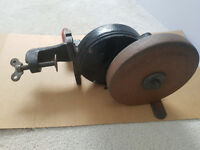 Vintage Bench Mounted Hand-Crank Grinding wheel