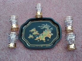 Worcester Ware tray and 5 glasses