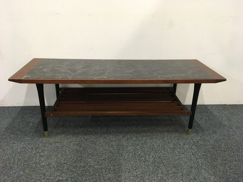 Retro Mid Century Rectangular Wooden Coffee Table With Black Glass Top