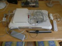 Nintendo wii set up with balance board