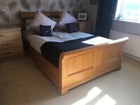 Solid wood double sleigh bed and bedside table