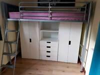 High sleeper bed and Ikea wardrobes