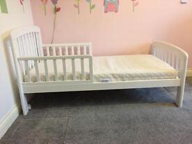 John Lewis white toddler bed & mattress (+bedding)