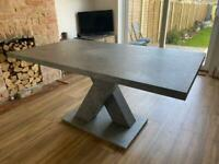 4-6 seater dining table concrete effect