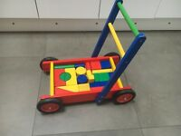 Wooden baby walker and building shapes - excellent conditiin