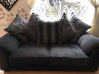 Gray and black 3 seater