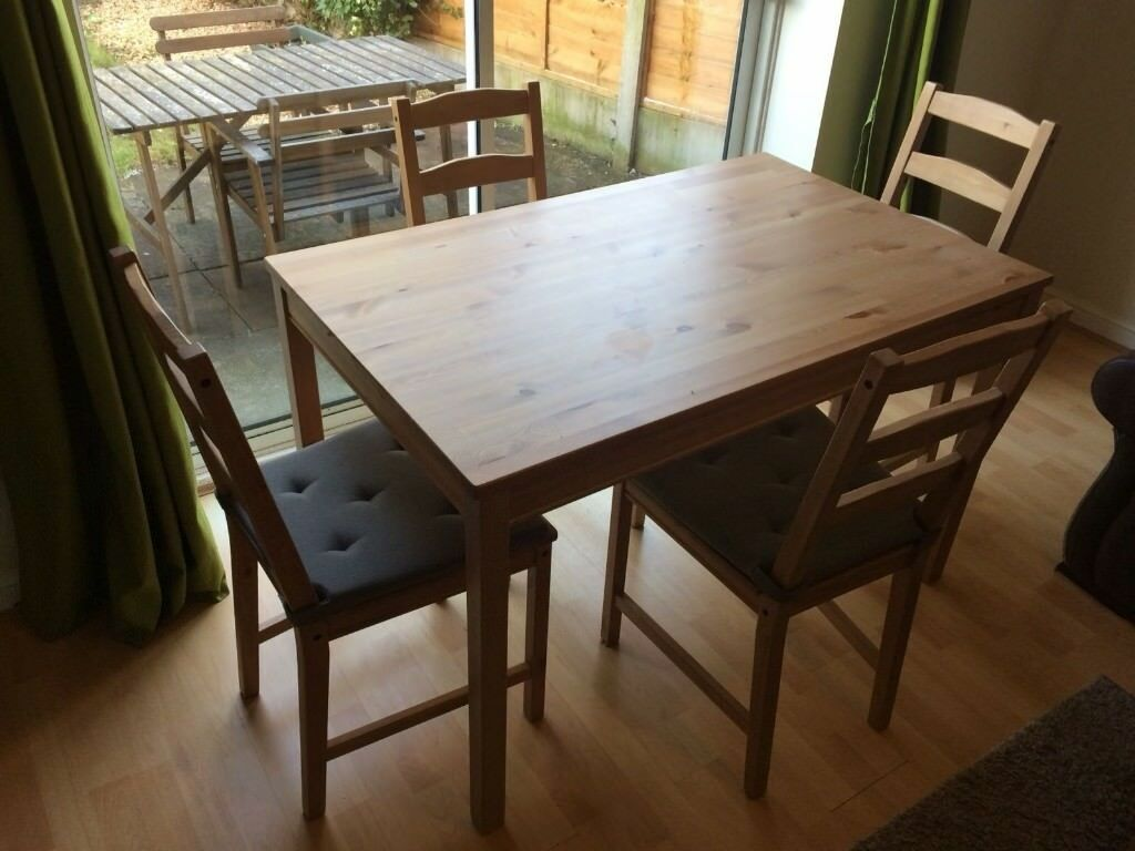 Ikea Jokkmokk Table And Four Chairs Pine Antique Stain With Pads Very Good Condition