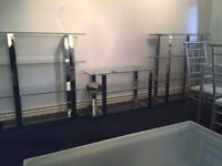 Gorgeous Glass shelves with matching TV stand reduced to clear