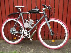 """RIDDICK"" MOTORISED PEDDLE BIKE FIXED COG 50cc NEW TYRES ON 26"" WHEELS BARGAIN £299"